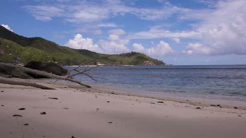 A dead branch is lying at a sandy beach at the Seychelles. The waves hit the beach and at the horizon a forested island reaches into the ocean. The sky is blue and cloudy.