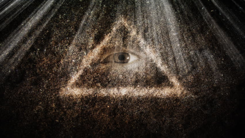 Symbol of the all seeing eye. Computer generated and footage.