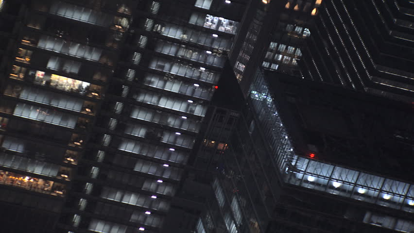 Aerial Tokyo close up city office buildings night illuminated people skyscrapers Shibuya built structure Business District Japan Asia | Shutterstock HD Video #7792534