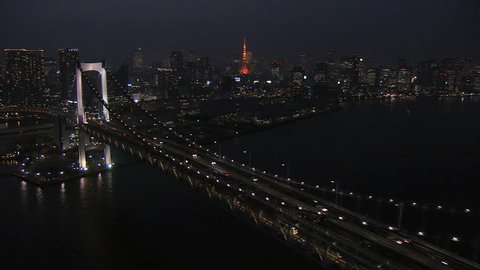 Aerial illuminated Metropolis city Rainbow Bridge transport night Tokyo Tower Bay travel Odaiba District Japan Asia