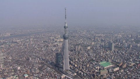 Aerial view Tokyo Skytree digital TV broadcasting and observation Tower Sumida River city skyline Sumida Japan