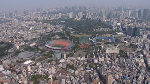 Aerial view National Sports Stadium 1964 Olympics redevelopment area for 2020 Olympic Park Tokyo skyline Japan Asia