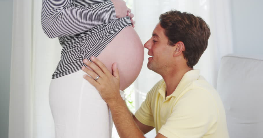 Man Kissing Pregnant Belly Shirt Stock Images - Image ...