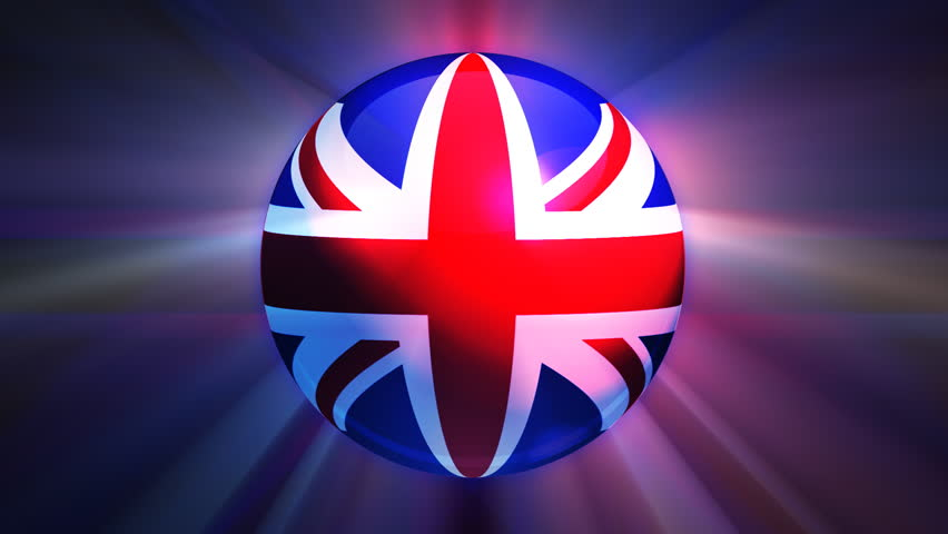 United Kingdom flag spinning globe with shining lights - loop