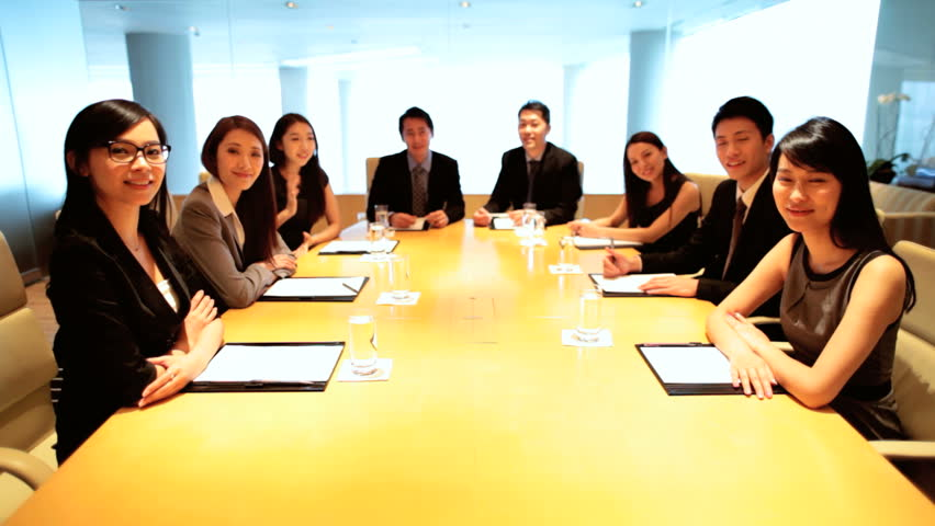 Asian Chinese business team communication city boardroom meeting video uplink wireless technology smart managers conference | Shutterstock HD Video #7852858