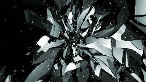 4K Glass shattered and broken slow motion and motion blur. Alpha matte