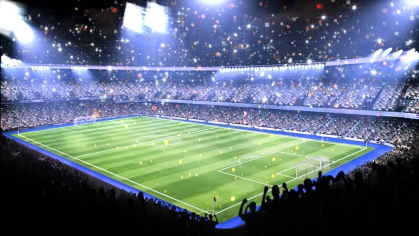 Sports field in light of spotlight