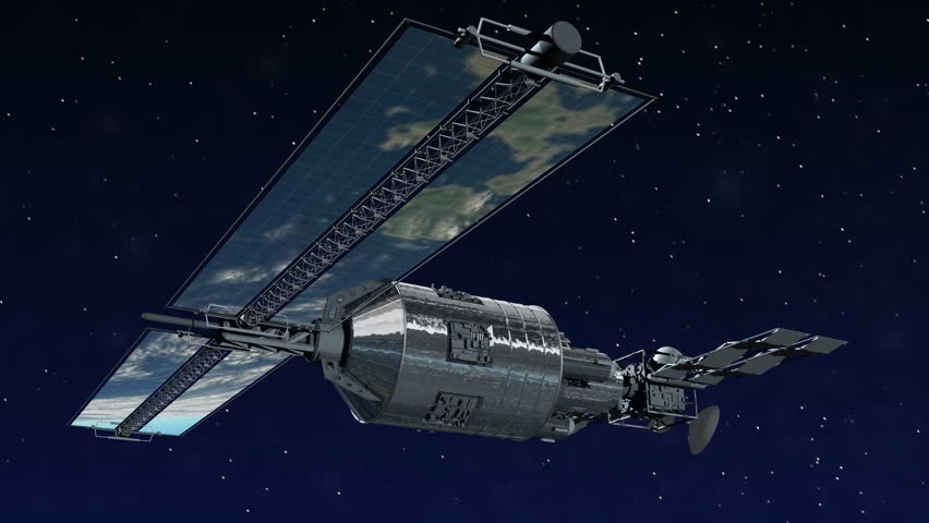 Telecommunication Satellite flying over with solar panels reflecting Earth in mirror