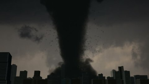 Massive EF5 Tornado Destroys City A large EF5 tornado strikes the downtown of a major city.  High-quality VFX animation created in MAYA.