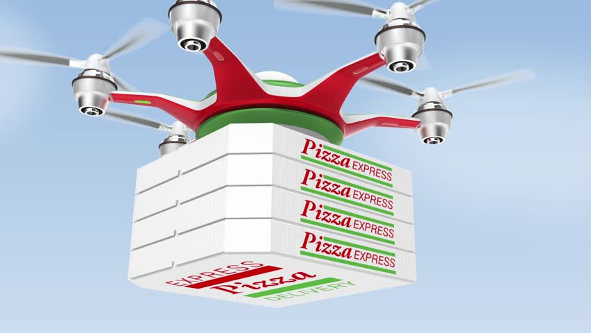 Drone carrying pizza for fast food delivery concept