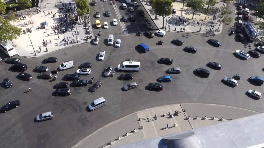 Traffic around the Arc D'eTriomphe in Paris, filmed from above