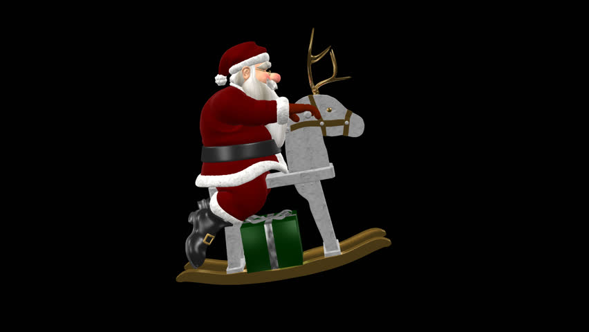Santa claus rocking on wooden reindeer side loop alpha channel santa claus rocking on wooden reindeer side loop alpha channel funny cartoon 3d animation element with transparent back for xmas and new year winter m4hsunfo Images
