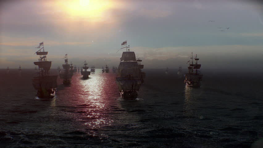 England Armada Ships in Sunset offshore to defend, conquest, war or discovery