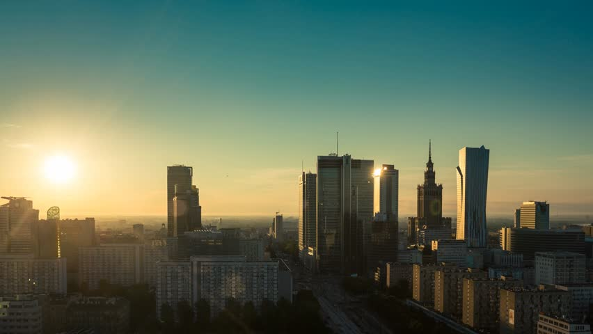 Warsaw Skyline City Timelapse during sunrise, Poland