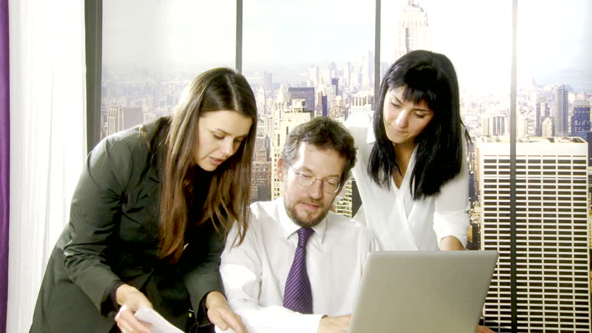 Business people at work in office in Manhattan New York | Shutterstock HD Video #7988251