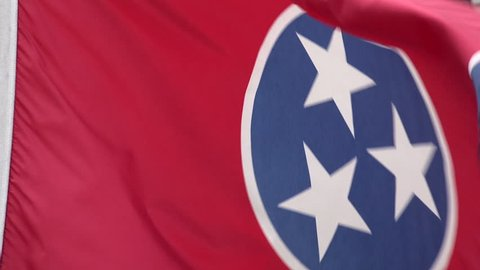 Tennessee flag blows in the wind, USA