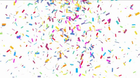 Animation of colorful confetti falling on white background