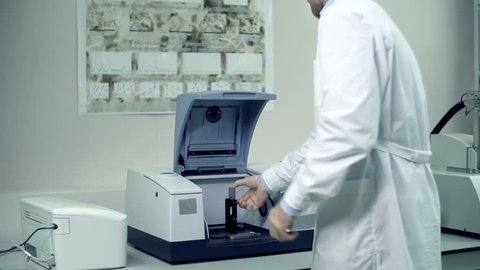 Panoramic shot of laboratory equipment, focus on ftir spectrometer