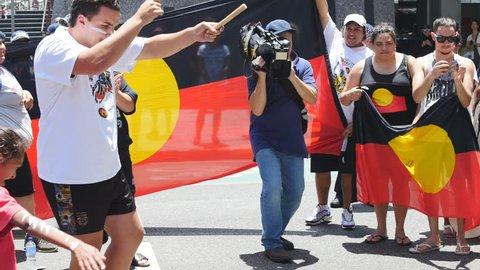 Aboriginal demonstration 33. BRISBANE, AUSTRALIA - CIRCA NOVEMBER 2014: Brisbane played host to the G20 Summit. The Brisbane Blacks, demonstrated for Aboriginal rights and the stolen children.