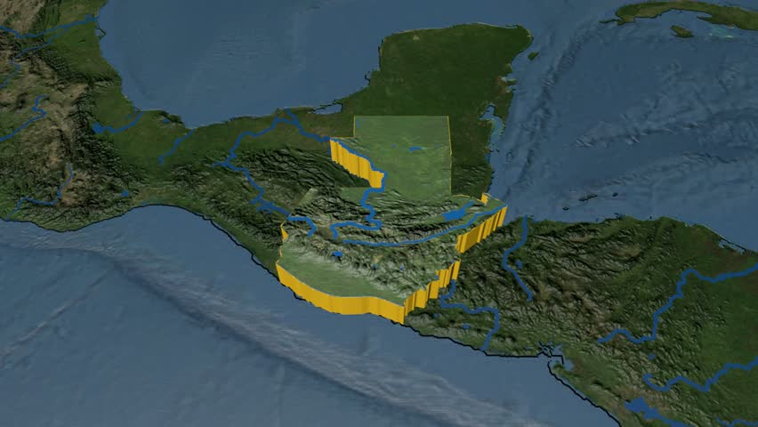 El Salvador Extruded On The World Map With Graticule Rivers And