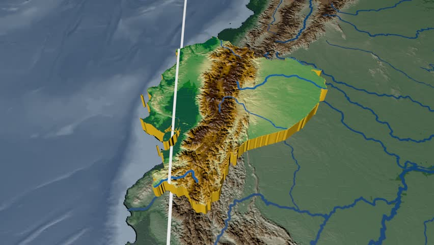Ecuador Extruded On The World Map Rivers And Lakes Shapes Added - Colored outline map of ecuador