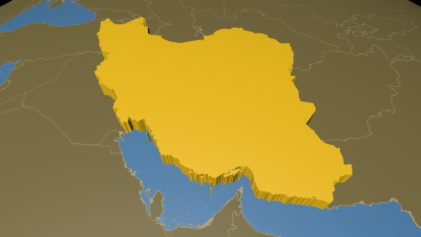 Iran extruded on the world map with administrative borders and iran extruded on the world map with administrative borders solid colors used 4k gumiabroncs Image collections