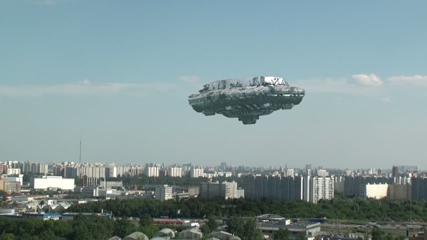 UFO is flying over the town