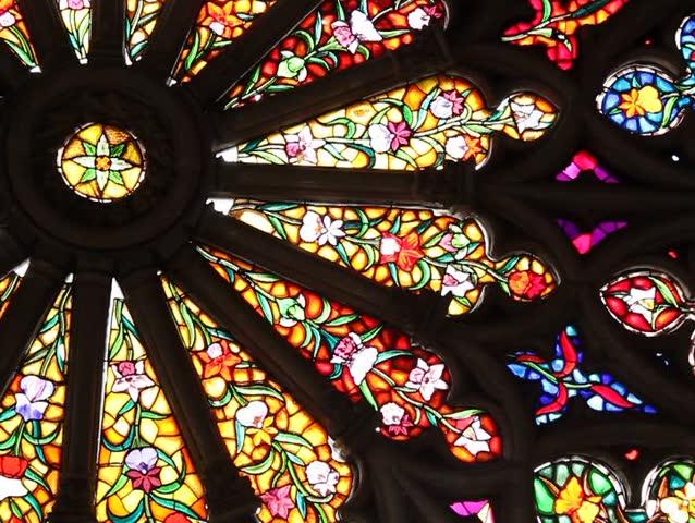 Stained glass window at the Basilica del Voto Nacional, Quito, Ecuador