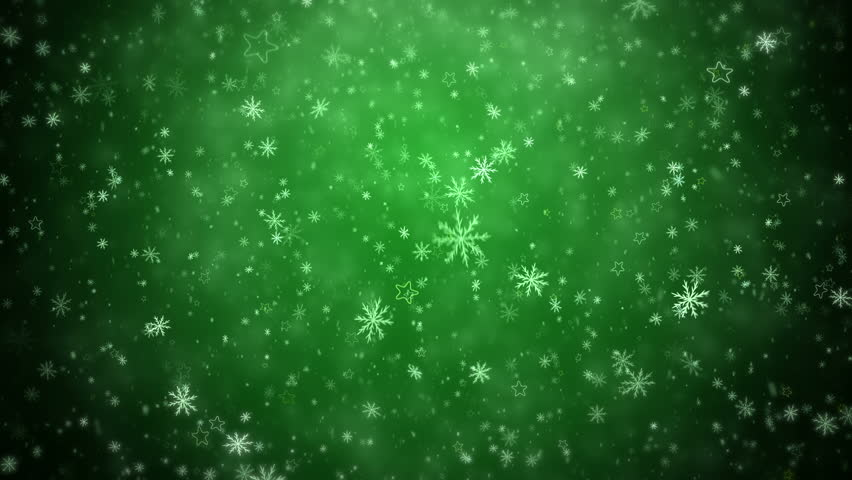 Falling Snowflakes And Stars On A Green Background. New ...