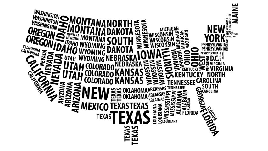 Word Cloud Of The United States Map With Alpha Channel In 4k