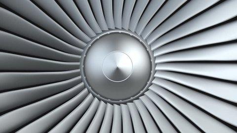 Jet engine, turbine blades of airplane, 3d animation, seamless loop