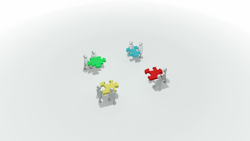 Animation representing a group of 3d men doing a clourful puzzle