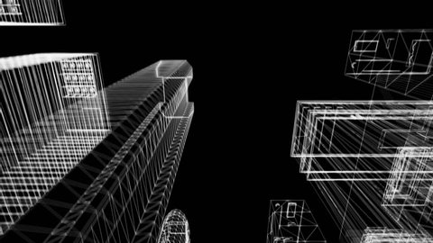 Seamless looping animation of a 3d city skyline, wireframe look