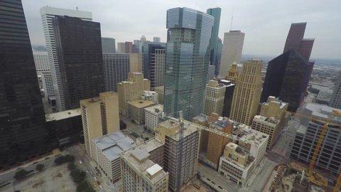 Downtown Houston Texas buildings aerial video