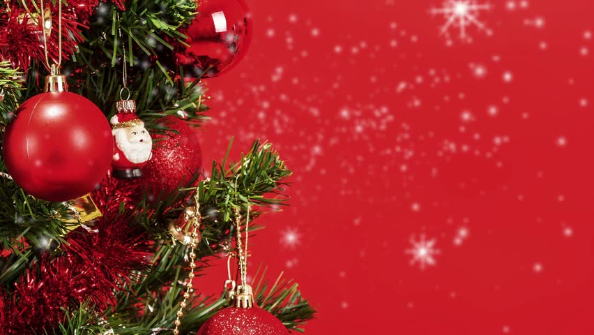 Abstract Snow Background With Detail Of Decorated Christmas Tree ...
