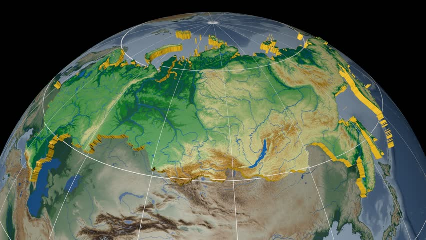 Russia extruded on the world map rivers and lakes shapes added russia extruded on the world map with graticule rivers and lakes shapes added colored gumiabroncs Images