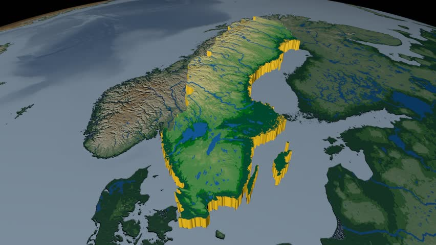 Norway Extruded On The World Map Rivers And Lakes Shapes Added - Norway map data