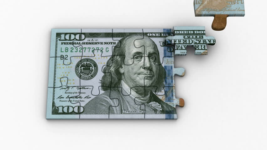 Animated Puzzles with Image of New 100 Dollars. White background, created in 4K, 3d animation