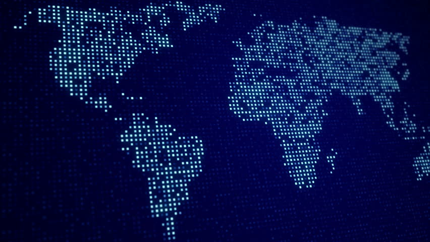 Stock Video Of Digital World Map Seamles Loop Animation - World map in blue color
