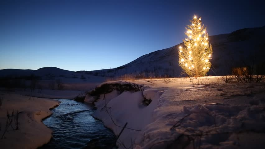 christmas tree glowing lights by mountain stream in winter, snow and blue sky at dawn, Iceland 2