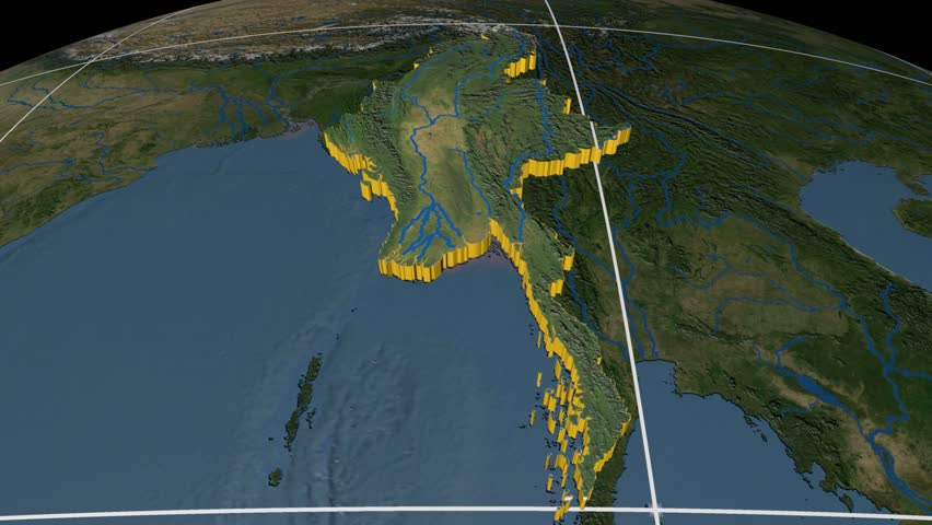 Myanmar extruded on the world map with graticule rivers and lakes myanmar extruded on the world map with graticule rivers and lakes shapes added high resolution blue marble raster used elements of this image furnished gumiabroncs Gallery