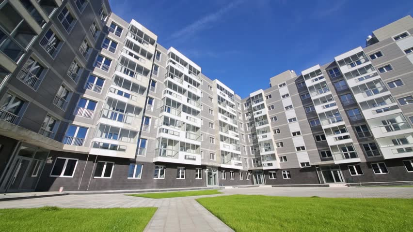 Sixstory Apartment Building In Residential Complex And Lawn