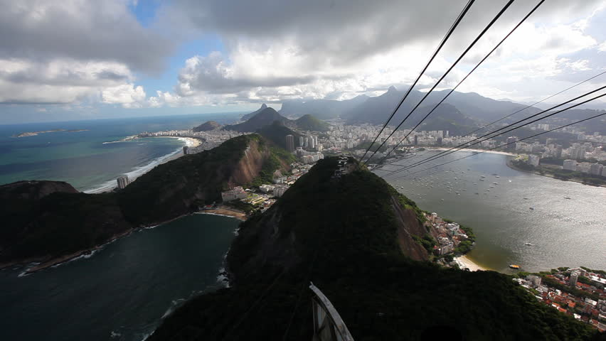 Rio De Janeiro shot from the sugar loaf mountain with Copacabana and cable construction from cable car visible, which drives down / HD1080 / 30fps