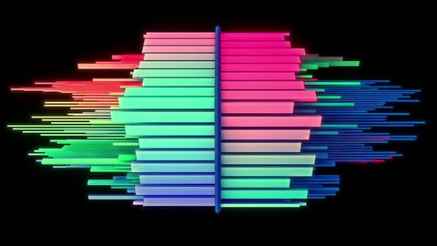 Abstract audio visualizer multicolored equalizer. High definition motion background for music videos, broadcast, television, film, editing, live visuals, VJ loops, youtube shows, or art installations.