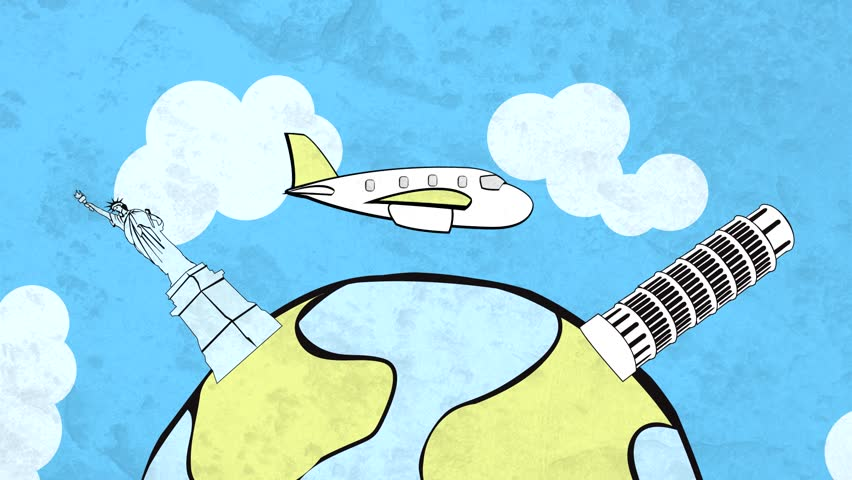 HD cartoon of airplane flying around the globe, with stylized landmarks