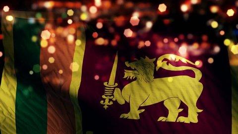 Sri Lanka Flag Light Night Bokeh Abstract Loop Animation 4K Resolution UHD Ultra HD