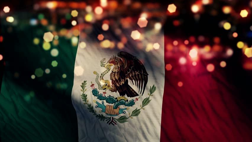 Mexico Flag Light Night Bokeh Abstract Loop Animation 4K Resolution UHD Ultra HD
