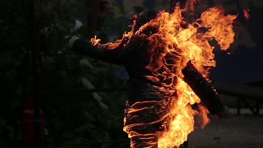 Moscow, Russia - JULY 30.2014: Stuntman on fire.