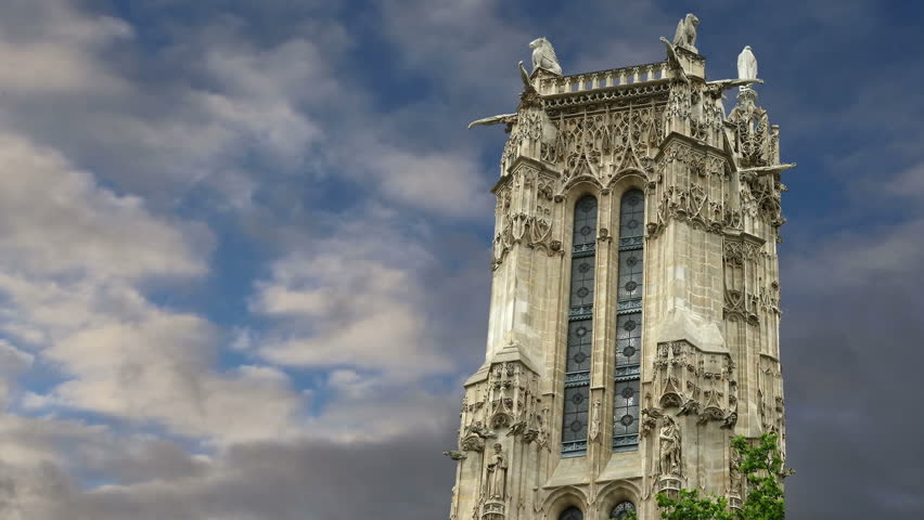 Tour Saint-Jacques, is a monument located in the 4th arrondissement of Paris, France   | Shutterstock HD Video #8430091