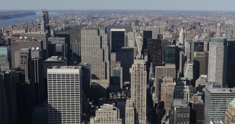 New York City Midtown Manhattan Aerial View Establishing Shot Big Apple Skyline ( Ultra High Definition, UltraHD, Ultra HD, UHD, 4K, 2160P, 4096x2160 ) | Shutterstock HD Video #8446396